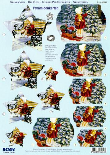 3d stanzbogen reddy pyramide weihnachten nostalgie. Black Bedroom Furniture Sets. Home Design Ideas