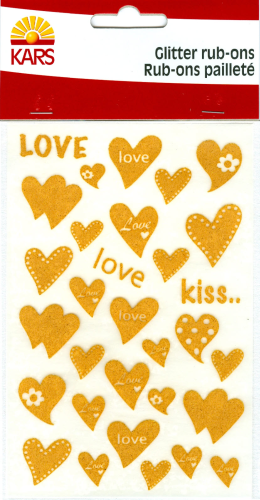 Rub-On Glitter Sticker Nr.3105 gold LOVE kiss HERZEN