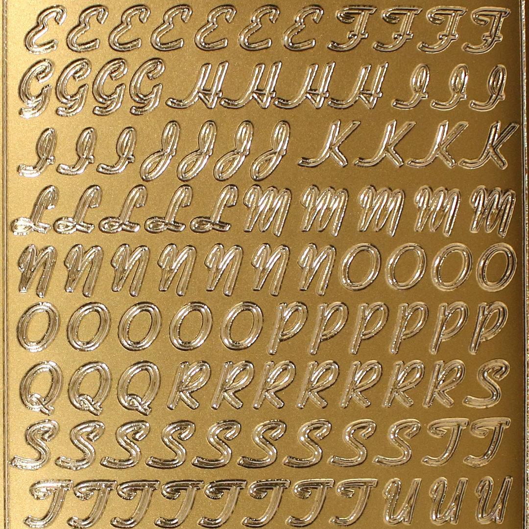 Sticker Konturensticker Buchstaben 11 mm Gold Großbuchstaben