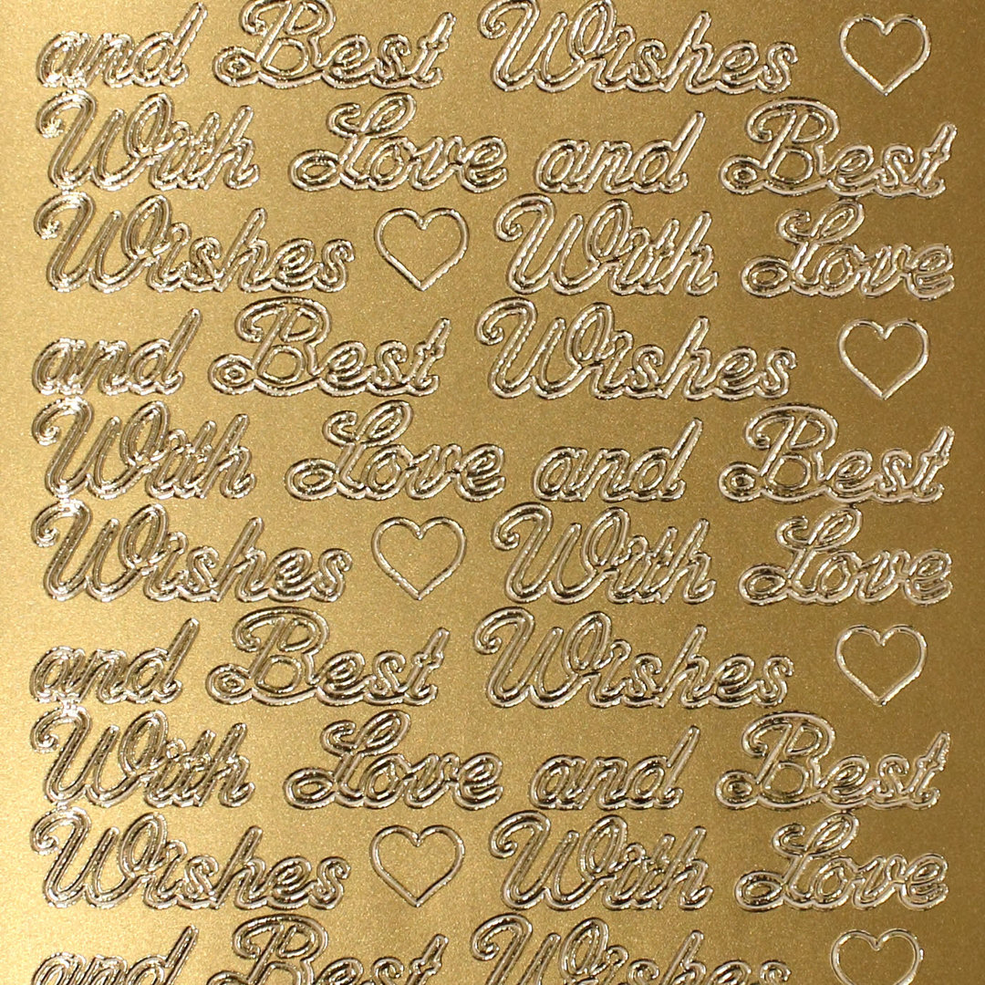 Sticker Nr.0327 Gold englisch Text With Love and Best Wishes