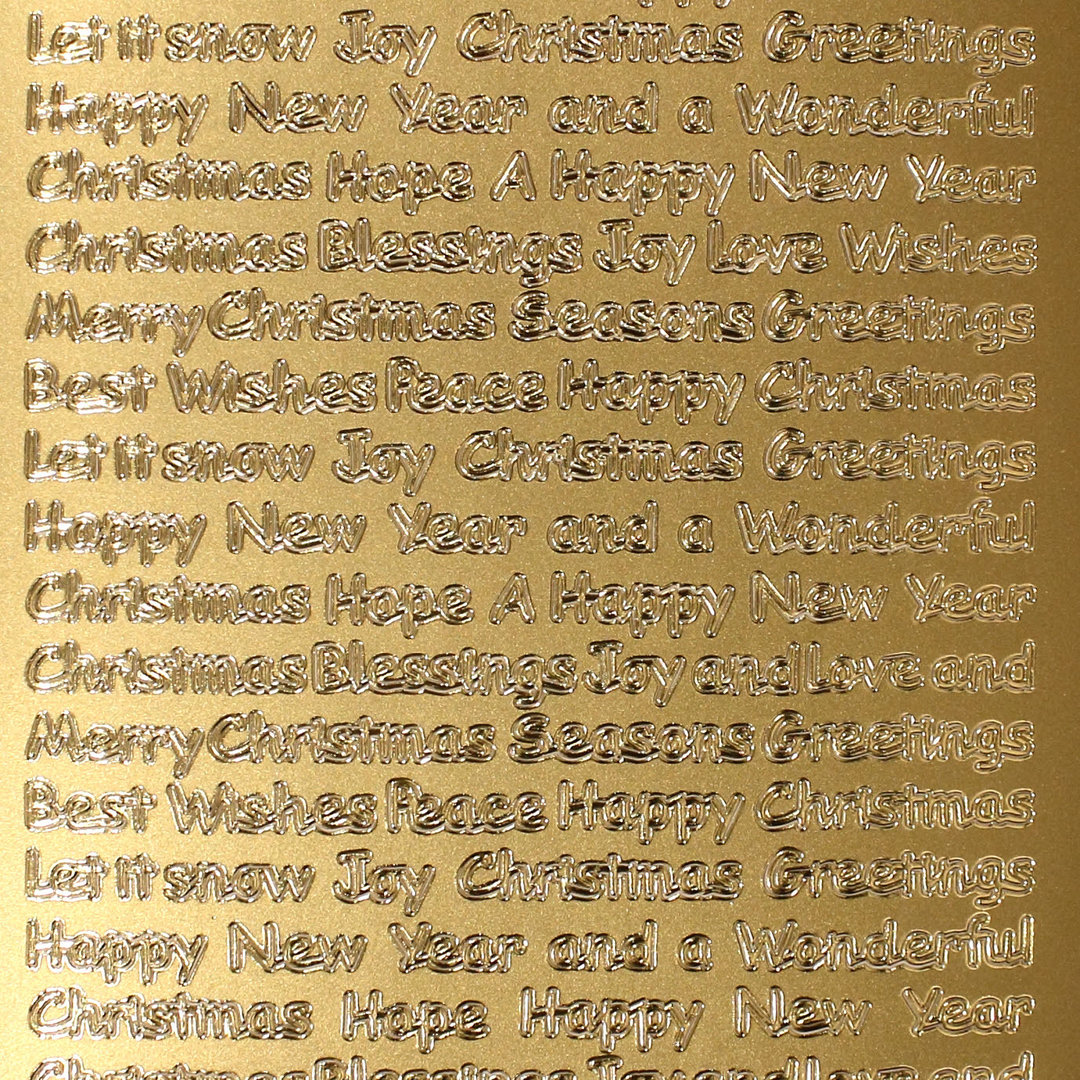Sticker Nr.0362 Gold Englisch Text Christmas New Year