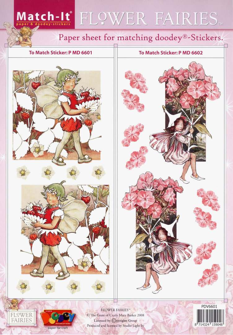 Flower Fairies Match-it Schneidebogen Nr.6601 Sticker 6601 u. 6602 Feen Elfen