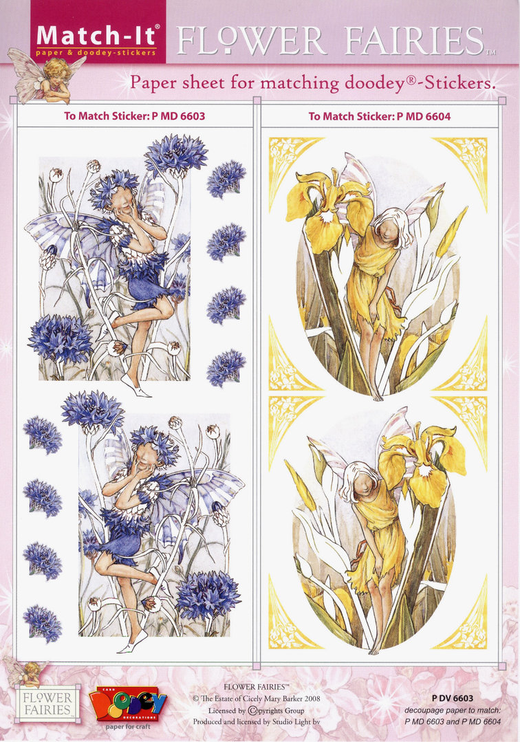 Flower Fairies Match-it Schneidebogen Nr.6603 Sticker 6603 u. 6604 Feen Elfen