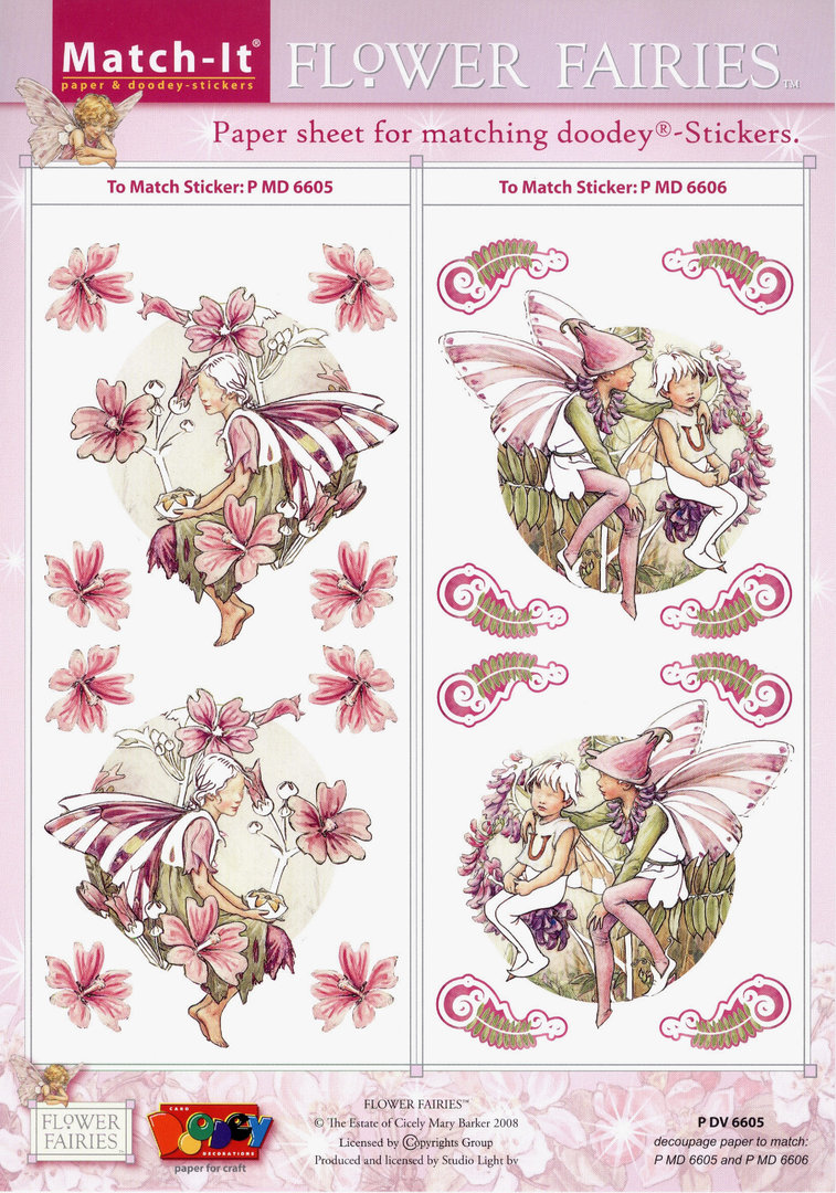 Flower Fairies Match-it Schneidebogen Nr.6605 Sticker 6605 u. 6606 Feen Elfen