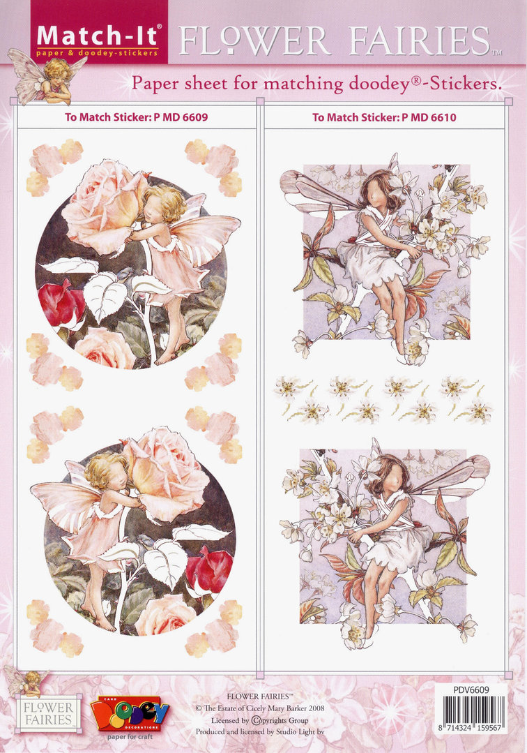 Flower Fairies Match-it Schneidebogen Nr.6609 Sticker 6609 u. 6610 Feen Elfen