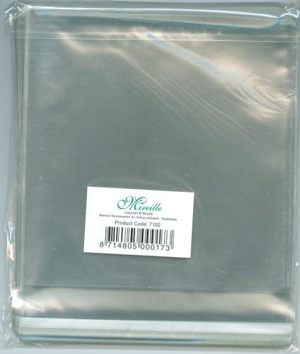 50 Klarsichthüllen Klebestreifen Quadratisch 15 x 15